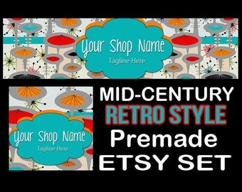 MID-CENTURY RETRO Etsy Large Cover Banner Set 1200X300/Premade Etsy Banner/Mid-Century Atomic Etsy Banner, Etsy Banner, Vintage 50's