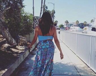 Boho Maxi Long Shirt / High Waist /  Hippie Skirt , Gypsy Skirt , Bohemian Clothing by Roupolimama