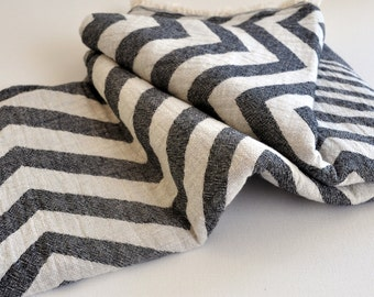 Turkish Towel Zig Zag pattern Peshtemal towel Cotton Peshtemal in dark grey color soft