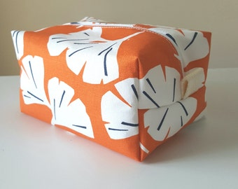 Orange Makeup Bag - Modern Cosmetic Bag - Large Makeup Bag - Waterproof Makeup Bag - Bridesmaid Gifts