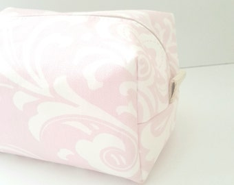 Pink Damask Makeup Bag - Make up Bag  - Cosmetic Pouch -  Lunch Bag - Wet Bag - Waterproof Bag - Bridesmaid Gifts