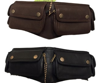 VEGAN LEATHER UTILITY belt, pocket belt, fanny pack, bumbag, STEAMPUNk belt, festival belt, VLBEFOp
