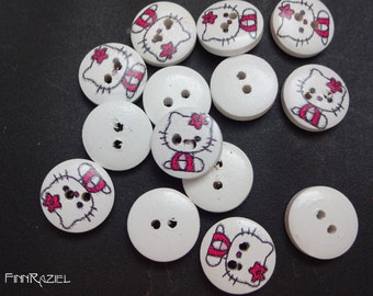 8 wood buttons Ø 15mm with sweet kitten