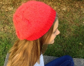 Red Mohair Petal Hat