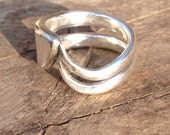 FORK RING JEWELRY Forge to Eternity Original design Ooak size 8.5-9.5 Silver plated Unique Design