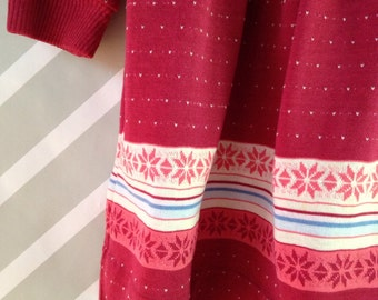 vintage heart and snowflake print turtleneck dress by healthtex size 4-5-6 years
