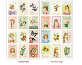 Diary Scrapbook Sticker Label Petit Girl Stamp