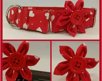 Red Hearts Dog Collar Flower
