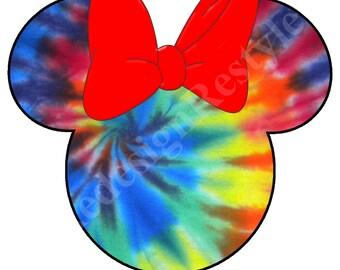 Minnie Mouse Tie dye Blank Iron-On Digital File