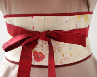 Dark red Dupioni silk - Obi Belt - Japanese belt - Figure slimmer - Waist cincher - reversible Cherry Blossoms: cream/Silver Metallic