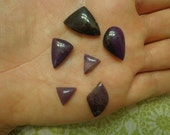 Lot of 6 New Old Stock Semiprecious Sugilite Geometric Shape Cabachon Stones, Mixed Sizes
