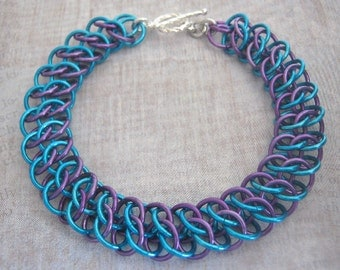 Chain Maille Bracelet Purple and Turquoise Aluminum Jewelry