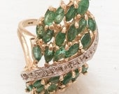 Emerald Diamond Ring, 18K Gold, Statement, Vintage Jewelry, Gift for Her SPRING SALE