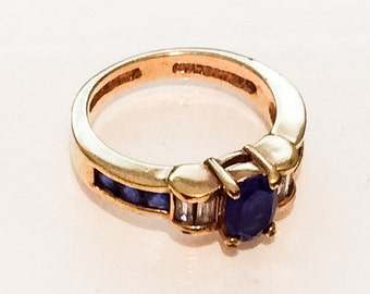 Blue glass ring, Simulated Sapphire with Diamond, 1960s Vermeil Sterling Silver, SUMMER SALE