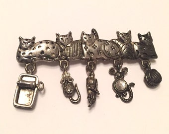 Cats Pin or Brooch, 1960s Vintage Jewelry, Gift for Her Figural, Signed AJC SPRING SALE
