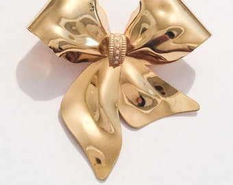 Large Gold Bow Pin or Brooch with Seed Pearls, Vintage Jewelry, SUMMER SALE