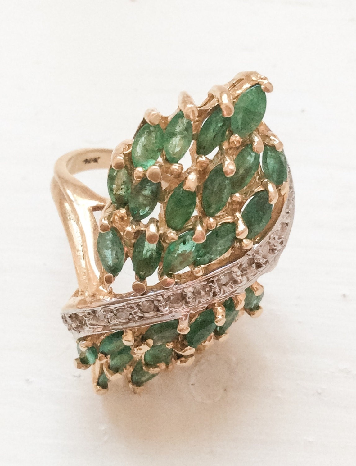 emerald ring 18k gold statement vintage jewelry