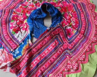 Vintage fabric, handmade, tapestry textiles, shirt collar, hill tribal fabrics from Thailand