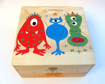 XX Large children's personalised memory box, keepsake Box, Hand-painted wooden box, Monster / Alien design
