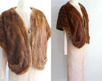 Vintage fur shawl, Wrap, MINK FUR
