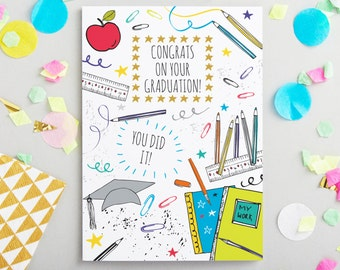 Graduation Greeting card - trendy stationery - congrats on graduating card - greetings & stationery for graduating - Made in the UK