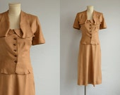 Vintage 1940s Suit / 40s Cocoa Brown Linen Dress Jacket and Skirt Suit / Draped Collar