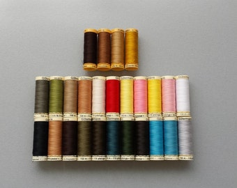 Gutermann Sew-All Thread - 22 Spools Polyester Thread / 4 Spools Cotton Thread- Total 26 Spools