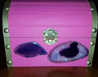 "OOAK, Purple Agate Adorned 6.5"" Treasure Chest, Earthy Gift Box, Mountain, Nature Wedding, Ring Bearer Box, Engagement"
