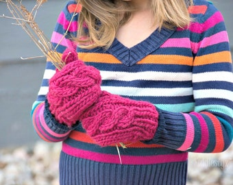 Child's Mittens - Cabled Mittens - Rose Pink Mittens - Girls Wool Hand Knit Mittens - Hand Knitted Mittens - the AURORA Mitts (Child size)