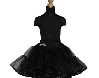 Girls 50's full volume petticoat double layer organdy with satin ribbon hem black underskirt tutu