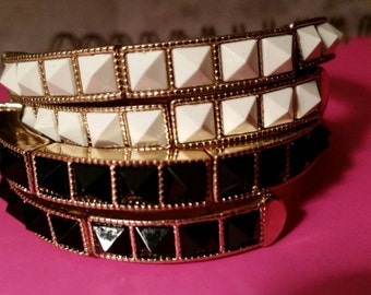 Black and White Studded Cuff Bracelet