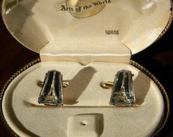 RARE Vintage Swank Arts of the World Crystal Eiffel Tower Cufflinks