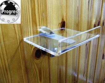 Wall Clear Acrylic Plexi-Glass Square Shelf With with Edge & One XL Bracket