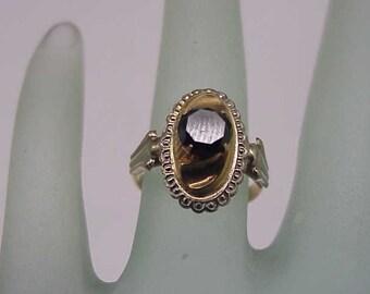 Estate  Vintage 18k Yellow + White Gold .80ct Genuine Deep Blue Diamond Ring, 1940s