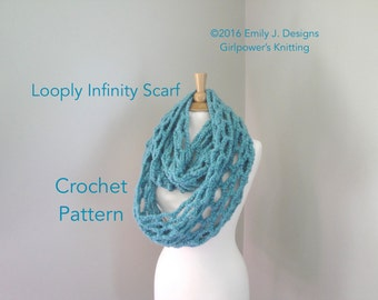 Crochet Pattern, Chunky Infinity Scarf, Long Wrap Scarf, Neck Warmer, Super Chunky Yarn, Loopy Lace
