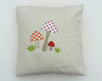 Toadstool cushion cover - mushrooms, red and white, free motion applique, linen and Amy Butler cotton. 40cm / 16""