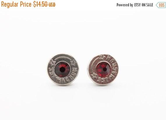 10% off entire store Bullet Earrings . 357 Magnum Nickel Plated Brass  . January Garnet