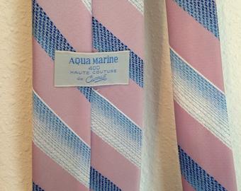 Vintage Necktie, Aquamarine Vintage Tie, Vintage Pink Tie, Vintage Blue Tie, Vintage Striped Tie