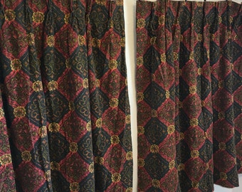 Vintage Curtains, Black Curtains, Red Curtains, Short Curtains, Vintage Drapery