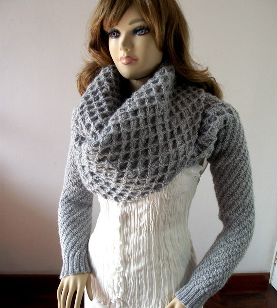 KNITTING PATTERN Scarf Sleeve big scarf with long sleeves Khloe Scarf Sleeves...