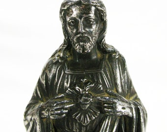French Metal Sacre Coeur Figurine, Sacre Coeur Statue, Religious Statue, Jesus Christ Statue, Our Lord Statue, Our Lord Figurine (4535)