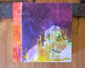 SOLD -- Abstract art// original painting// wood panel// purple //red