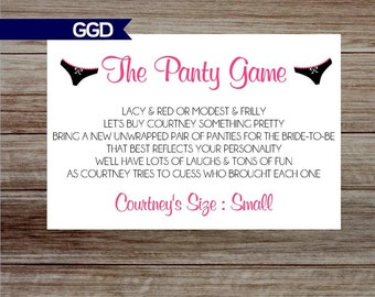 The Panty Game Poem for Lingerie Shower, Panty Game card, Hens Party, Lingerie Shower, bachelorette party game, panty invite-Print Your Own