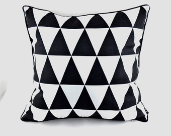 Modern triangles black and white pillow cover