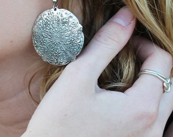 Vintage Boho Pewter Statement Earrings
