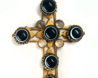 Dramatic Victorian Bullseye Agate & Moonstone Cross Necklace