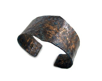 Tapered Dark Copper Cuff - Wide Antique Copper Cuff Bracelet - Tapered Aged Copper Cuff- Textured Rustic Copper Cuff Bracelet Metal Bracelet