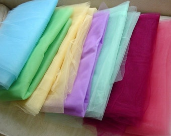 SALE - Multi Color Tulle Lot, Nylon Netting Lot, Detsash, 29 Total Yards