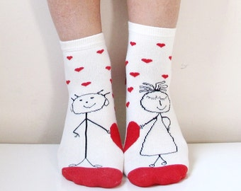 Funny Valentine's Day Socks Express Shipp Women Socks Leg Warmer Christmas Socks Boot Socks Ladies Casual Cotton Socks Ankle Socks Rabbit