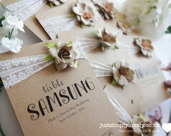 Rustic Lace Wedding Table Name Cards